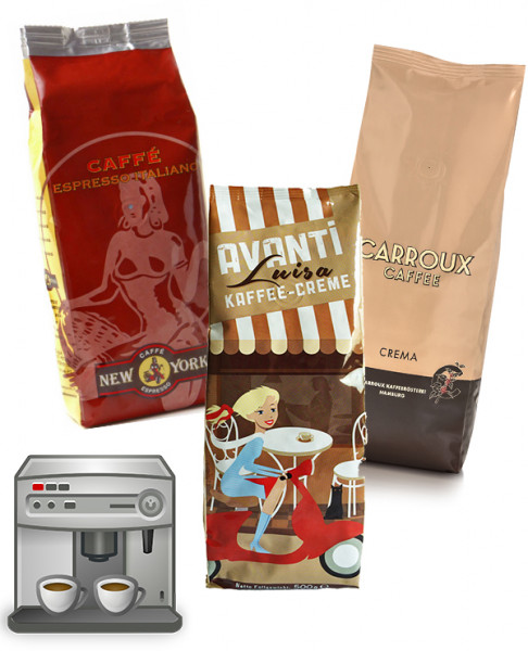 Probierset für Kaffeevollautomaten - Carroux   Caffe New York   Avanti Luisa
